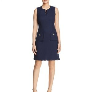 Karl Lagerfeld Paris Navy Tweed Shift Dress Size 2